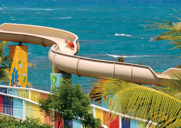 Water slide at Coconut Bay Resort, St. Lucia with kids