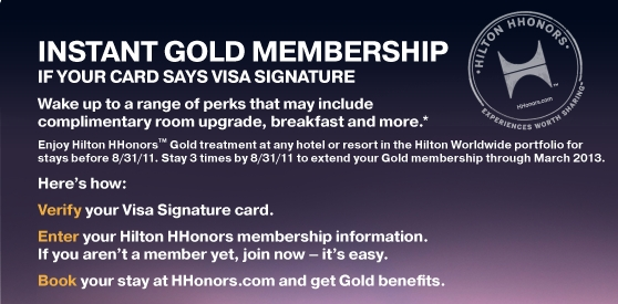 Hilton HHonors Gold status using Visa Signature credit card