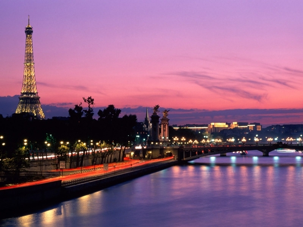 Paris and Eiffel Tower at Dusk