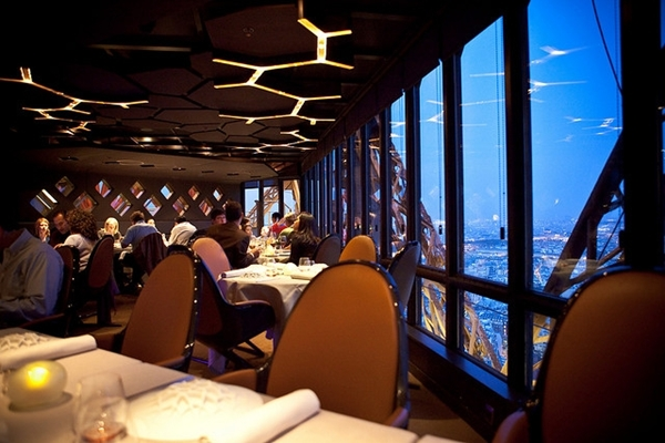 Restaurant Jules Verne is in the Eiffel Tower, Paris France