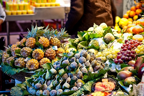 Colorful Boqueria Market, Barcelona Spain