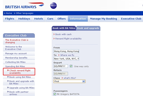 Check Reward Flight Availability-British Airways