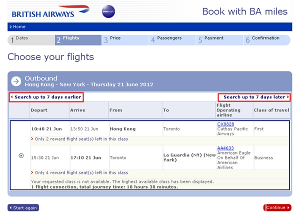 Search for Oneworld awards 7 days earlier or later using British Airways search