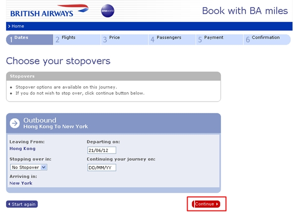 Ignore Choose your stopover and Click Continue-British Airways award search