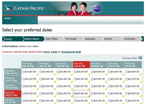 Cathay Pacific First Class NYC-Bali is almost $20K