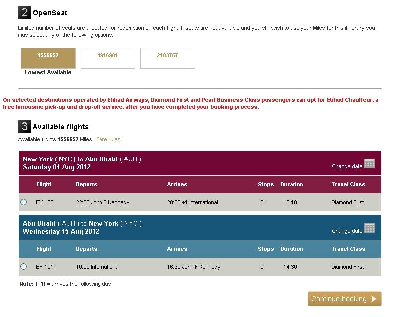 Use AA Miles for Etihad First Class NYC-Abu Dhabi (AUH)