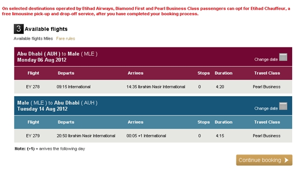 Use AA Miles for Etihad First Class Abu Dhabi-Male Maldives
