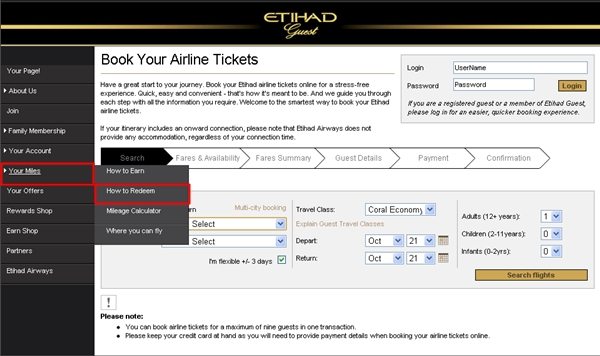 "Click on ""Your Miles"" then ""How to Redeem"" on the Etihad Web site"
