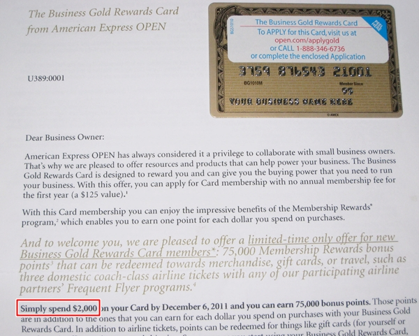 75 000 Membership Rewards Points for AMEX New Business