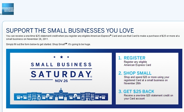 $25 AMEX Credit on Small Business Saturday November 26