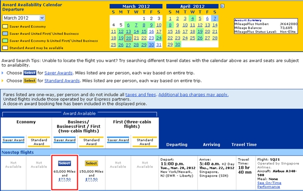 Singapore Airlines Business Class Awards Bookable on