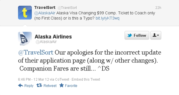 Alaska Airlines Visa Companion Ticket-No More First Class?