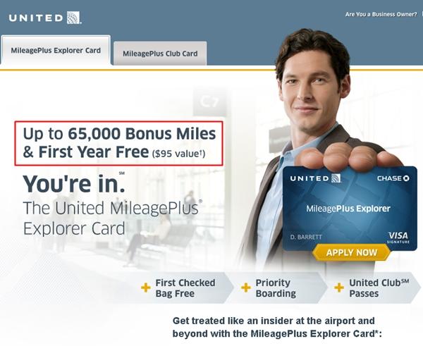 United MileagePlus Explorer: 65,000 Bonus Miles