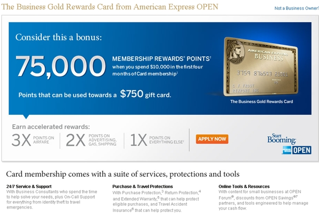 AMEX Business Gold Rewards Card 75000 Bonus Points