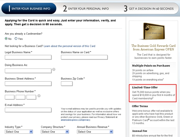 AMEX Business Gold Rewards 75000 Points