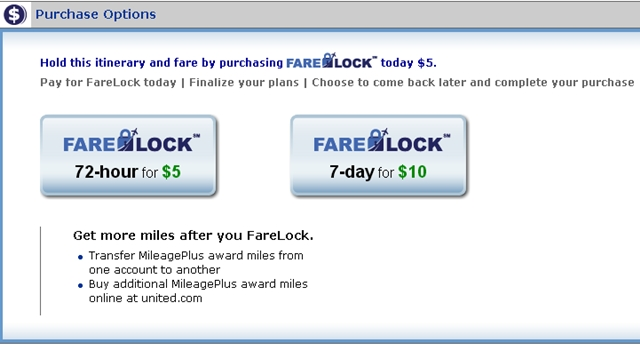 United FareLock Fee-Worth It or Use a Free Hold?