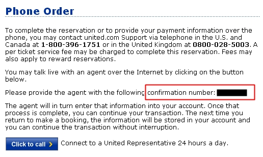 United FareLock or Free Hold - Phone Order Page Confirmation Number