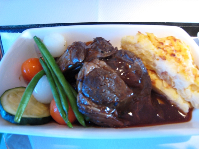 Cathay Pacific First Class Bali to Hong Kong - Braised Lamb Shank