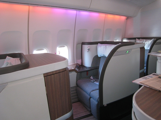 Cathay Pacific First Class Bali to Hong Kong Review - First Class Cabin