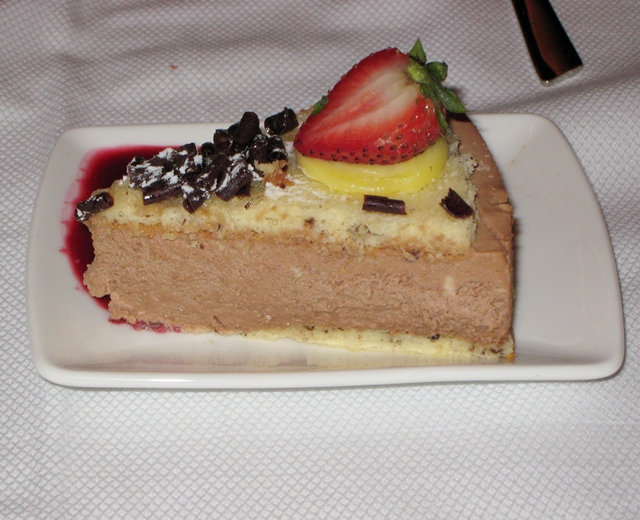 Cathay Pacific First Class Bali to Hong Kong Review - Chocolate Mascarpone Cream Cake