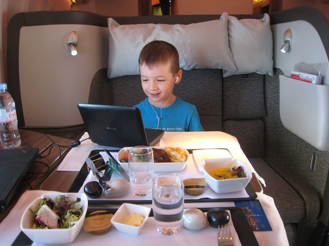 Cathay Pacific First Class Bali to Hong Kong Review - Dinner for two