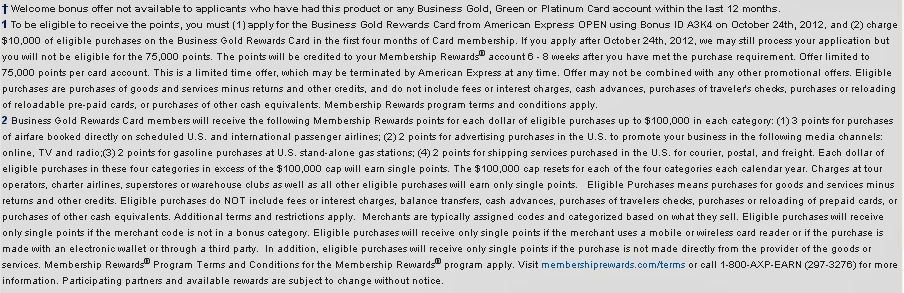 75,000 Points AMEX Business Gold Rewards Card Terms