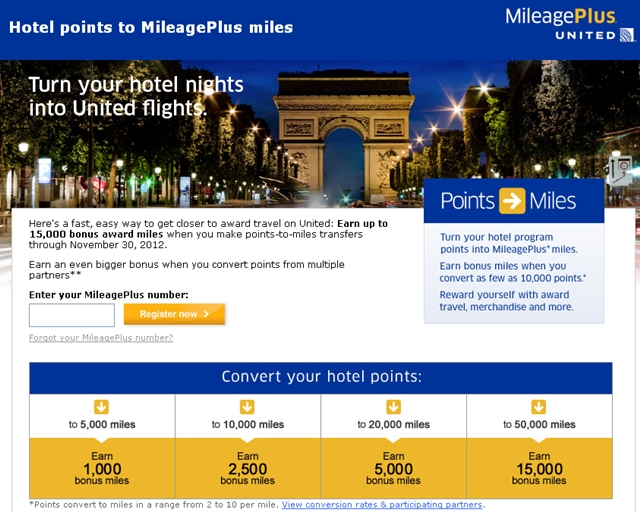 United-Up to 15000 Bonus Miles for Hotel Points Transfers