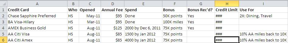 credit card tracker spreadsheet