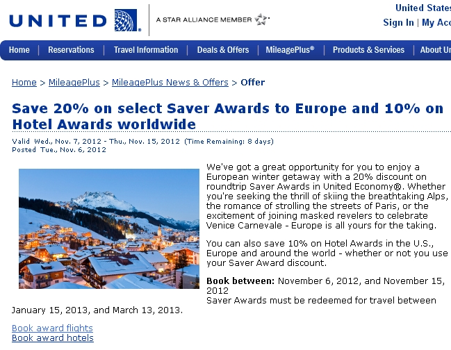 United Roundtrip to Europe and Free One Way for 48,000 Miles