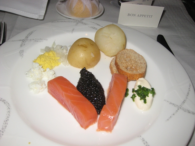 Cathay Pacific First Class Review: Caviar and Balik Salmon Tsar Nicolaj
