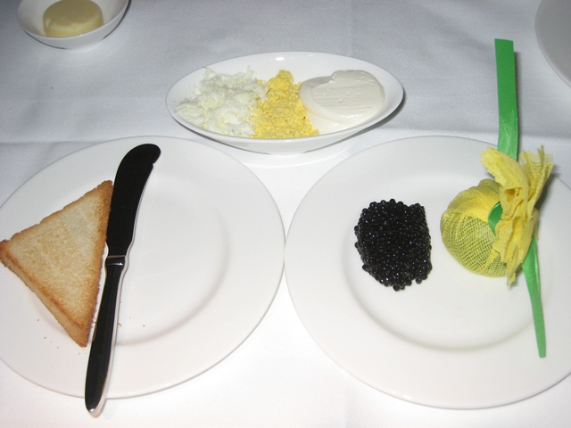 Lufthansa New First Class Review - Caviar service