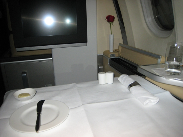 Lufthansa New First Class Review - Dinner Service