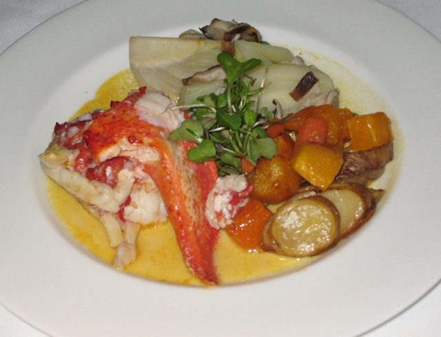 Lufthansa New First Class Review - Lobster in Saffron Reduction