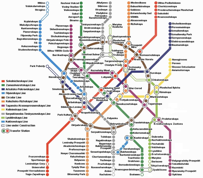 Moscow Metro Map-Subway Map in English