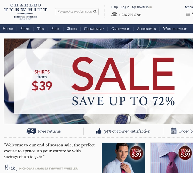 Top 10 Holiday Shopping Points Bonuses - Charles Tyrwhitt