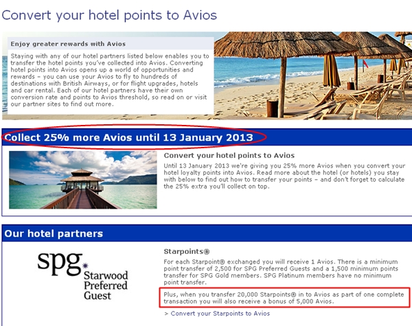 SPG 25%-56% Transfer Bonus to British Airways Avios
