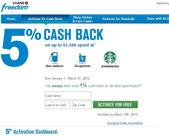 Activate Chase Freedom 5X Q1 2013 Bonuses for Drugstores, Starbucks and Gas Stations
