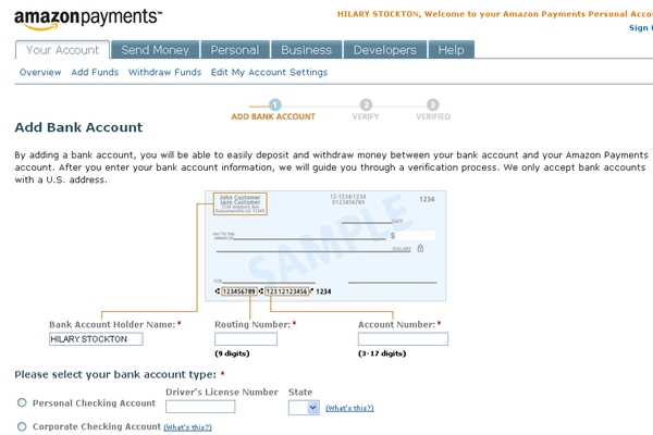 Amazon Payments: Add Bank Account