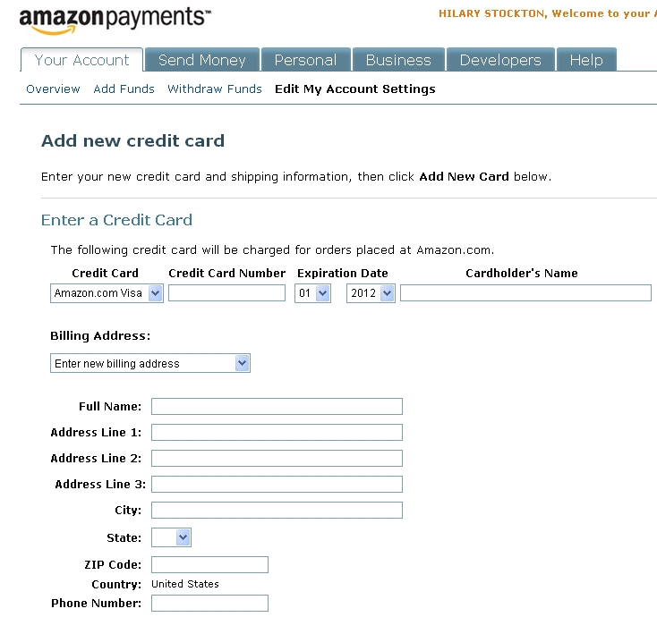 Amazon Payments: Add a New Credit Card