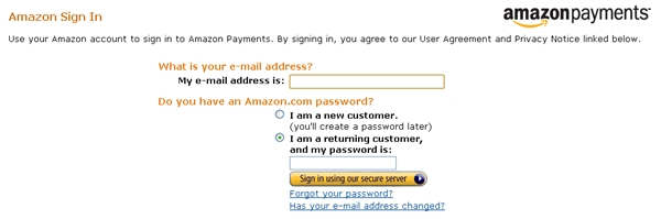Amazon Payments Login
