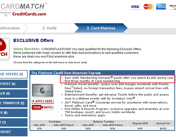 AMEX Platinum 100K Bonus Offer - Card Matches