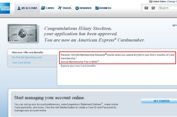 AMEX Platinum 100,000 Bonus Points Offer Approved