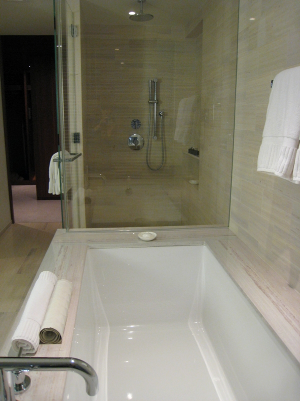 The Setai Fifth Avenue NYC Hotel Review - Bathroom Soaking Tub and Rain Shower