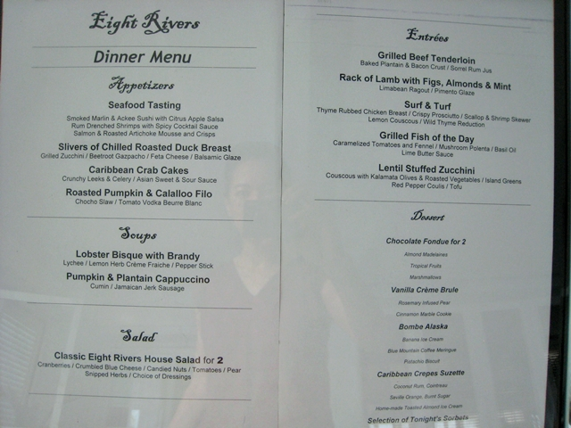 Eight Rivers Restaurant Menu, Couples Tower Isle Jamaica
