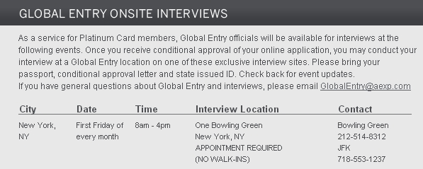 AMEX Platinum Card Global Entry Onsite Interview in NYC