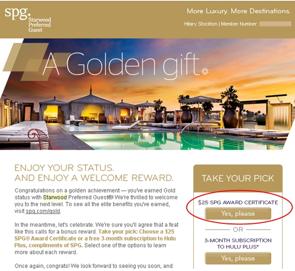 Starwood $25 Award Certificate for SPG Gold and Platinum Elites