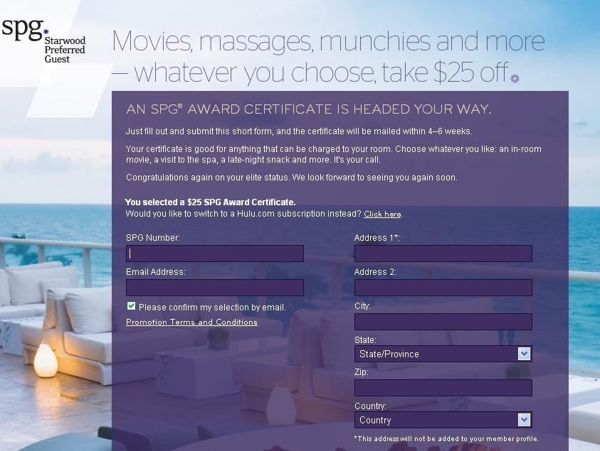Starwood $25 Award Certificate for Gold and Platinum SPG Elites