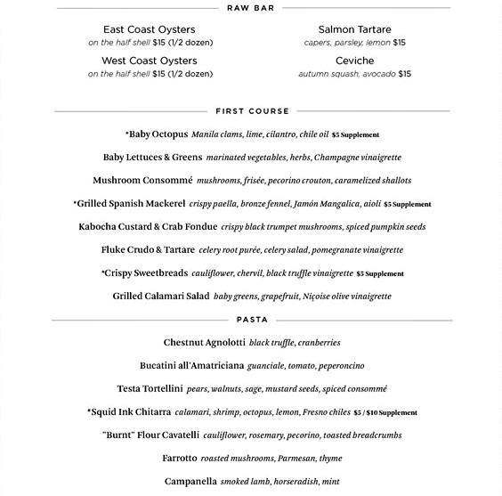 Riverpark Restaurant Week Menu