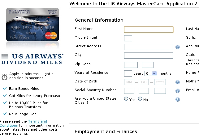 US Airways Credit Card-35,000 First Year Annual Fee Waived