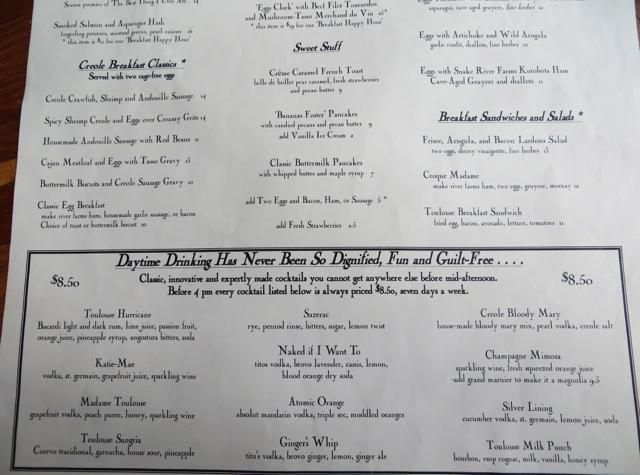 Space Needle Restaurant Menu Breakfast and drinks menu,